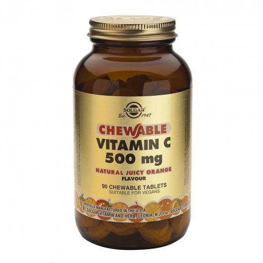 Vitamine C 500 mg saveur orange Solgar, 90 comprimés à mâcher