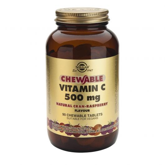 Vitamina C 500 mg sabor frambuesa Solgar, 90 comprimidos masticables