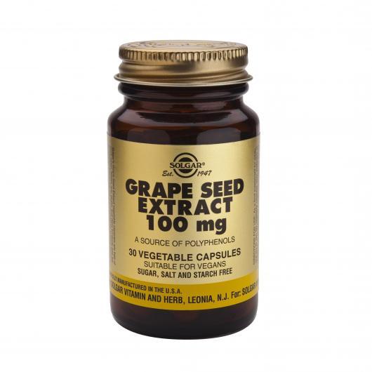 Extracto de semilla de uva 100 mg Solgar, 30 cápsulas vegetales