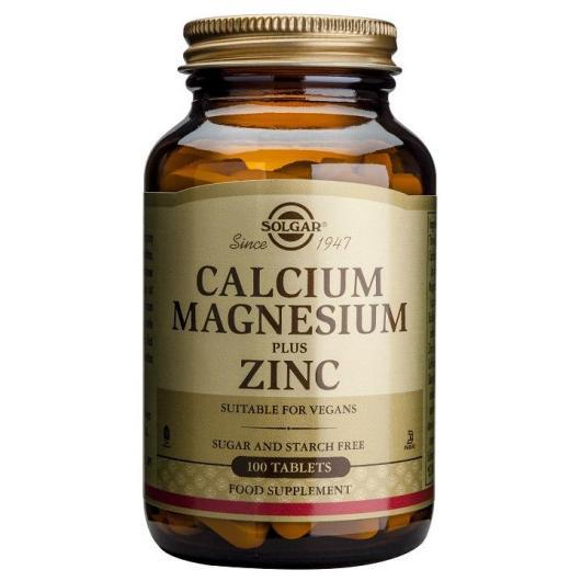 Calcium et magnésium avec zinc Solgar, 100 comprimés