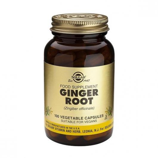 Jengibre raíz Solgar, 100 cápsulas vegetales