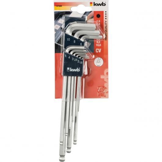 Lot de 9 clés Allen 1,5-10 mm KWB