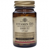 Vitamina D3 1000 UI (25 µg) Solgar, 100 comprimidos masticables