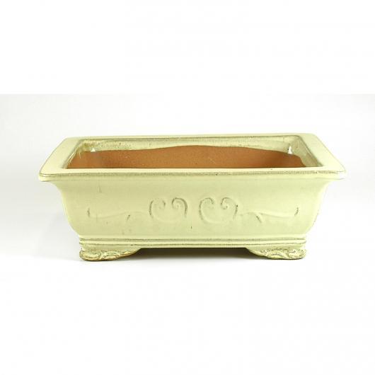 Pot rectangulaire pour bonsaï couleur crème