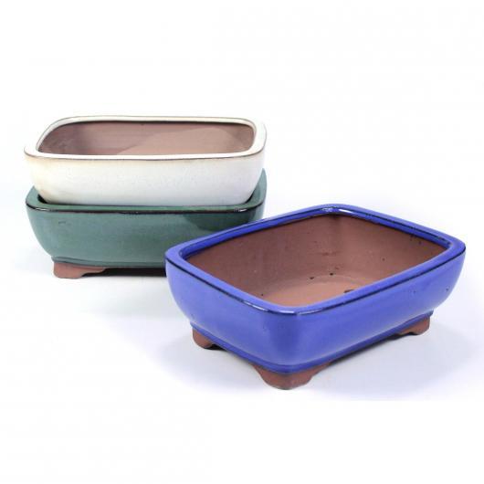 Pot rectangulaire pour bonsaï avec bords arrondis couleur crème