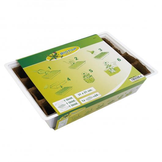 Kit semillero 24 macetas turba 5x5