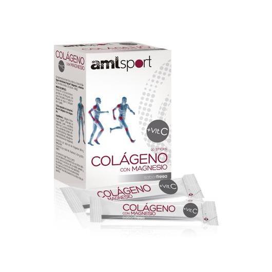Colágeno con Magnesio y Vitamina C sabor fresa Amlsport, 20 sticks