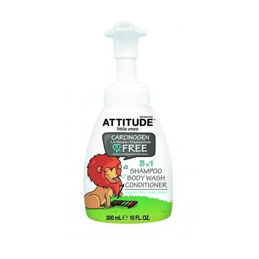 Champú, gel y acondicionador eco peques Sin perfume  3 en 1 Attitude, 300 ml