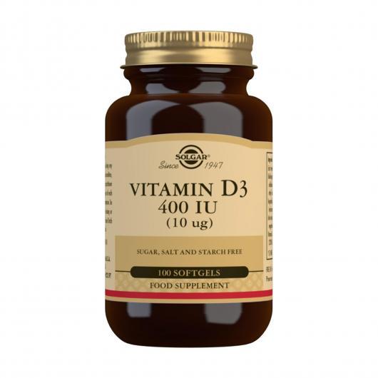 Vitamina D3 400Ui Solgar, 100 Perlas