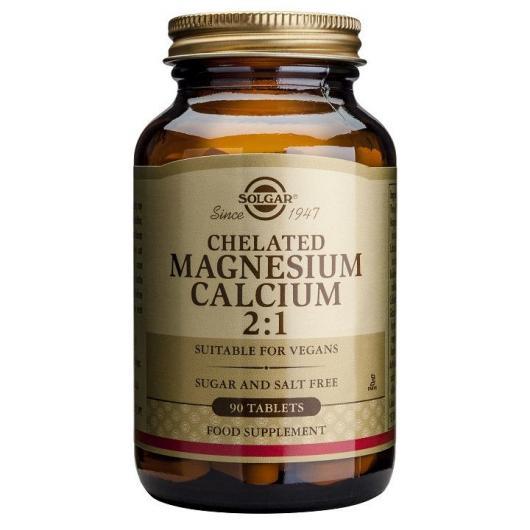 Magnesio - Calcio Quelado 2:1 Solgar, 90 Comprimidos