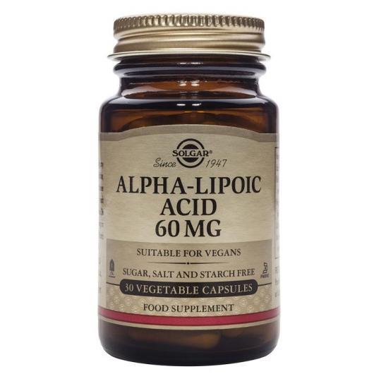 Ácido Alfa Lipoico 60 mg Solgar, 30 Cápsulas vegetales