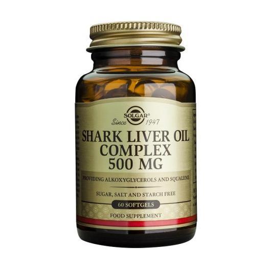 Complexe d'huile de foie de requin 500 mg Solgar, 60 softgels