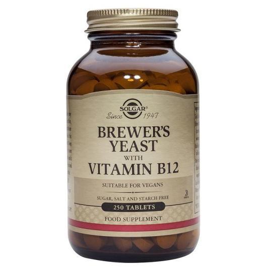 Levadura de Cerveza 500 mg con Vit B12 Solgar, 250 comprimidos