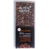 Chocolate 80% con Cacao Alternativa, 100 g