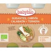 Babybio Menu Guisantes-Chirivia-Calabacin-Ternera 2 x 200 grs
