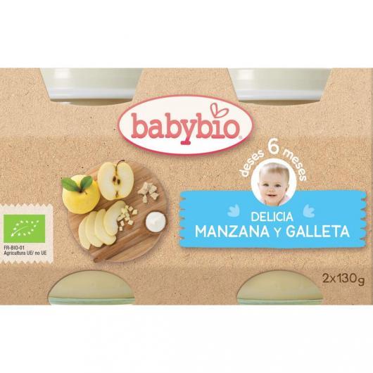 Petit pot Délice de Pomme et Biscuit Babybio, 2 x 130 g