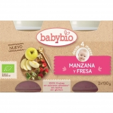 Babybio apple & strawberry babyfood 2 x 130g