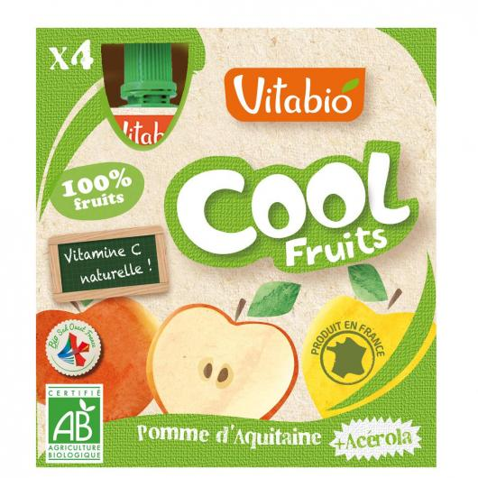 Gourde Cool fruits Pommet et Acerola Vitabio, 4 x 90 g