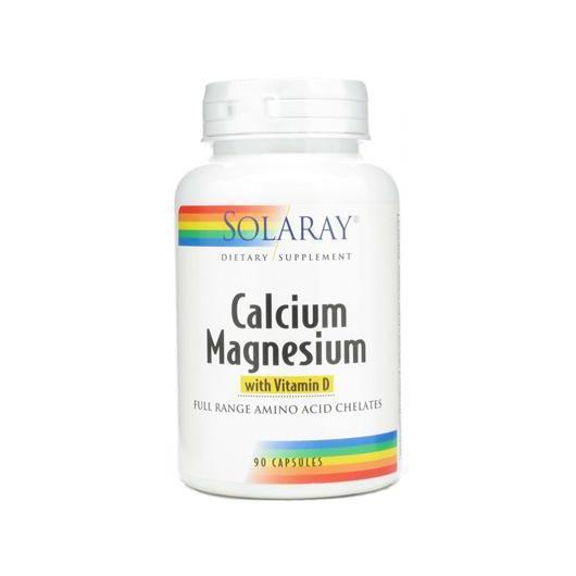 Calcium et Magnésium + vitamine D Solaray, 90 capsules