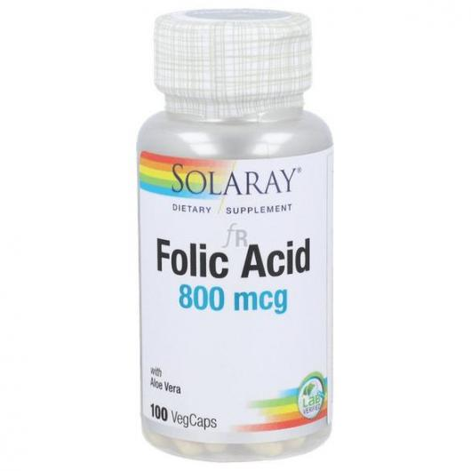 Ácido Folico 800 mcg Solaray, 100 cápsulas