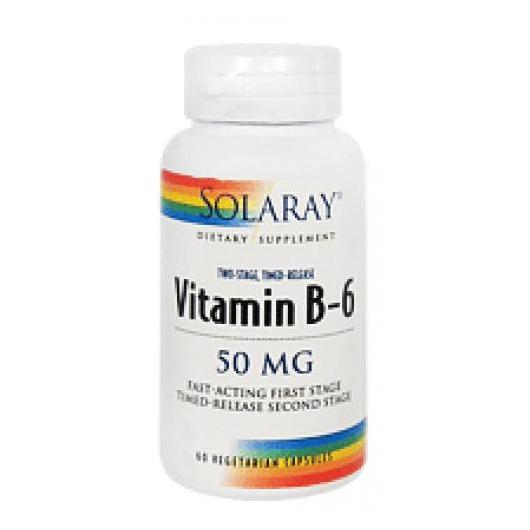 Vitamina B6 50 mg Solaray, 60 cápsulas