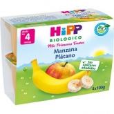 Boião biológico FrutaPause maçã e banana 4M Hipp, 4 x 100 g