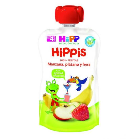 Bolsitas Biológicas Manzana Platano y Fresa HiPP, 90 g