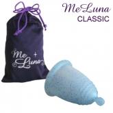 MeLuna copo menstrual Basic bolinha, azul com purpurina
