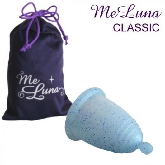 MeLuna copa menstrual Clasic bolita Azul con purpurina