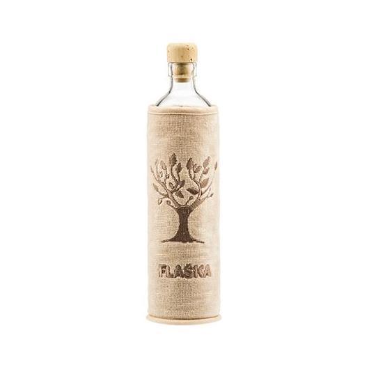 Botella de vidrio funda algodón orgánico 500 ml, Flaska