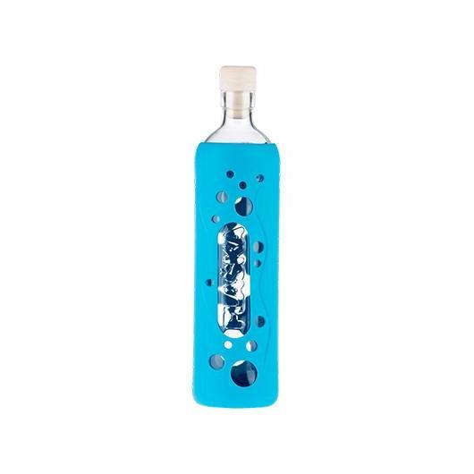Botella de vidrio funda silicona azul 500 ml, Flaska
