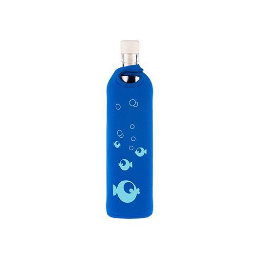 Botella de vidrio funda neopreno peces Flaska