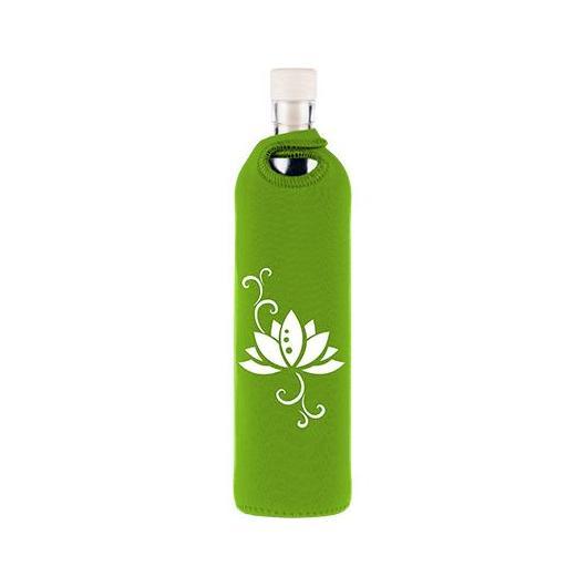 Botella de vidrio funda neopreno flor Flaska