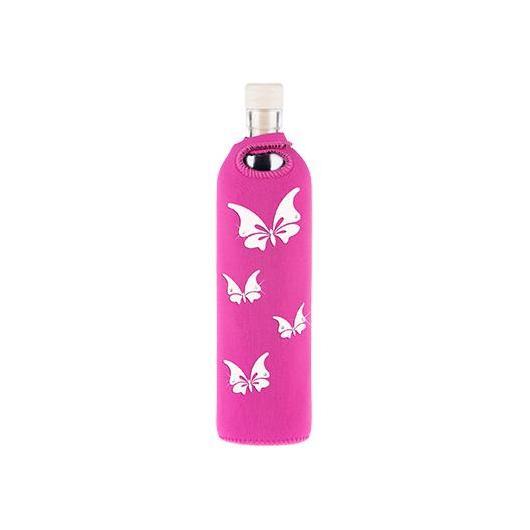 Bottiglia di vetro con fondina in neoprene farfalle with Swarovski Elements Flaska