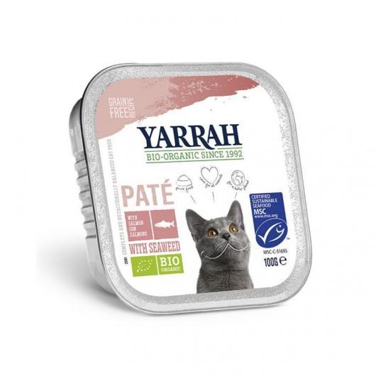 Tarrina para gatos con salmón y gambas Yarrah, 100 g