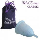 MeLuna Classic glitter blue menstrual cup with ball stem