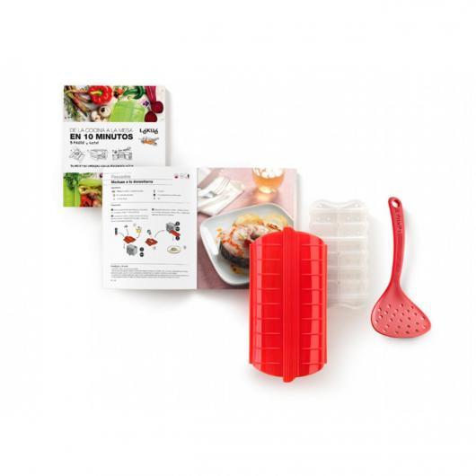 Kit termos a vapore + mestolo perforato + libro di ricette (spagnolo) Lékué