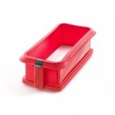 Moule rectangulaire démontable 26.5 cm avec assiette en céramique Lékué, Rouge