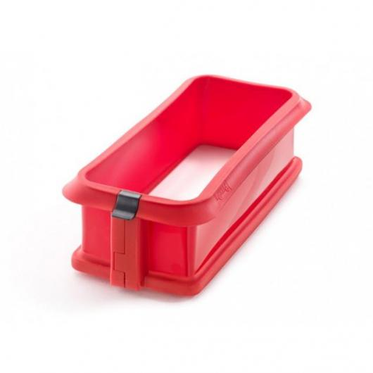 Formino rettangolare smontabile 26,5 cm con piatto di ceramica Lékué, rosso