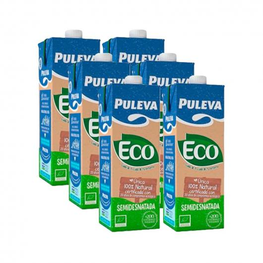 Pack 5 + 1 brick GRATIS Leche Semidesnatada ecológica Puleva, 1 L