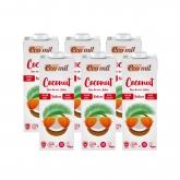 Confezione da 6L latte di cocco senza zucchero, senza glutine e senza lattosio EcoMil