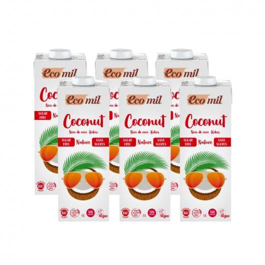 Pack 6L Leche de coco sin azúcar, sin gluten y sin lactosa EcoMil