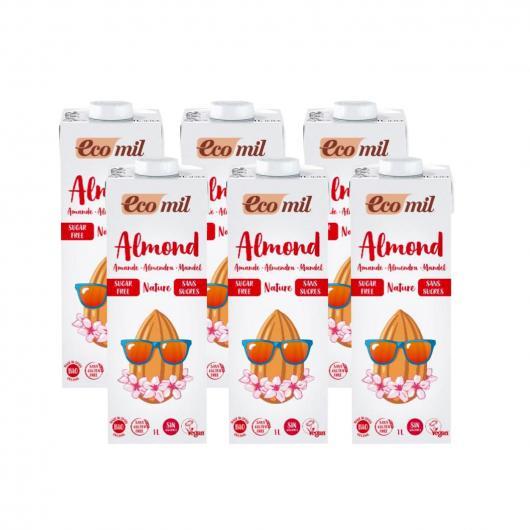 Confezione da 6L latte di mandorla senza zucchero, bio EcoMil