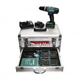 Taladro percutor a batería Makita HP347DWEX1 14.4 V 1.3 Ah con accesorios