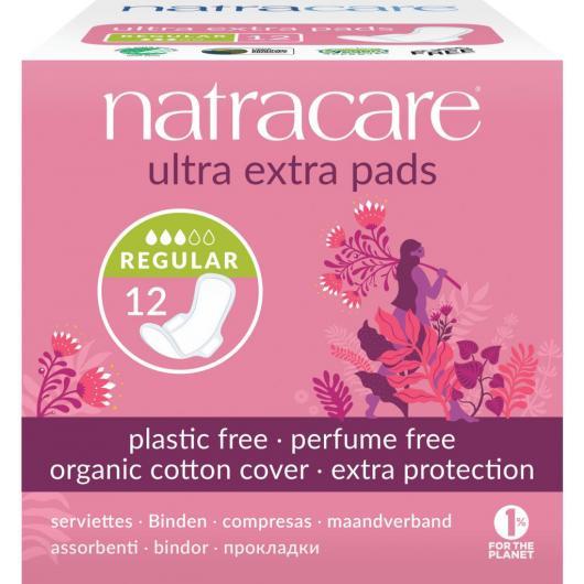 Serviettes hygiéniques Ultra Extra Normal avec ailes Bio Natracare, 12 unités