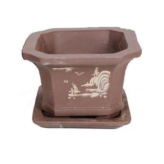 Vaso Yixing quadrato Semi cascata + piatto