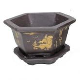 Vaso Yixing hexagonal semi-cascata + prato