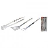 Insieme di tre utensili in acciaio inossidabili per barbacoa BBQ