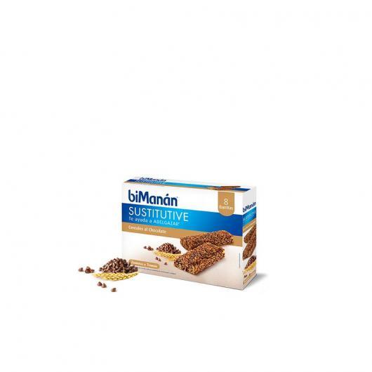 Barrette sostitutiva sapore cereali al cacao con  chips biManán, 8 barrette