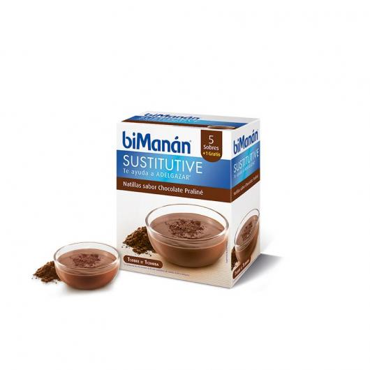 Natillas sustitutivas sabor praliné biManàn, 5 sobres